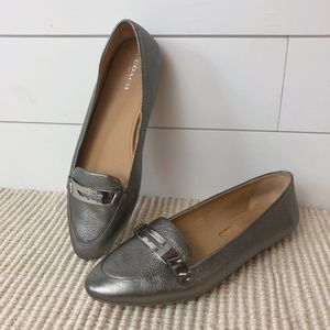 Coach Ruthie Pebbled Silver Leather Loafer Shoe